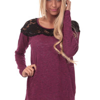 Magenta Long Sleeve Top with Black Lace Detail