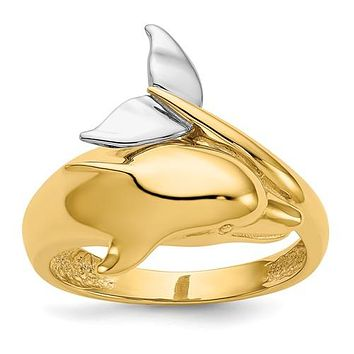 14K Gold Two Tone dolphin Ring