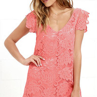 BB Dakota Jacqueline Coral Pink Lace Shift Dress