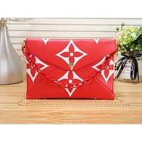 LV hot selling fashion printed lady casual shoulder briefcase Red