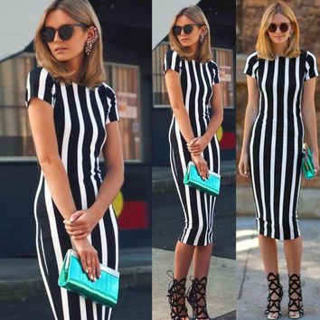 LMFON Fashion Vertical stripe short sleeve Slim Stretch dress