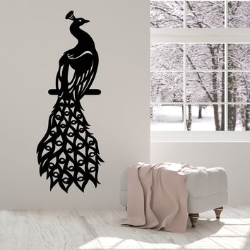 Vinyl Wall Decal Peacock Fairy Birds Beautiful Feathers Stickers (2417ig)