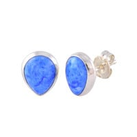 Sterling Silver Lapis Earrings Gemstone Studs Pear-Shaped 7mm x 9mm