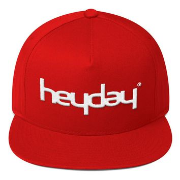 Red Flat Bill Snapback Cap