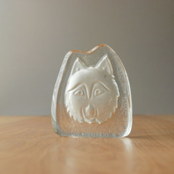 Vintage Wolf Glass Paperweight
