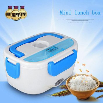 Mini Electric Car Heat Insulation Thermo Lunch Charging Hot Rice Cooker Multi Functional Plug Plastic Box Seal cutlery