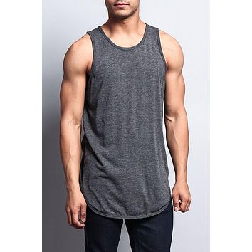 Basic Long Length Curved Hem Tank Top