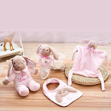 4-in-1 Infant Toy Kit Rabbit Plush Music Doll + Baby Appease Towel + Baby Soothing Bell + Bibs Bandana Baby