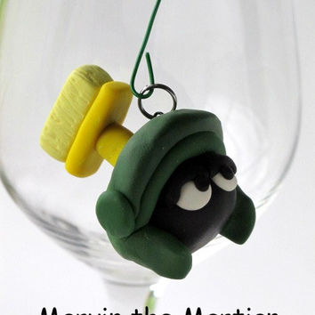 Marvin the Martian, Looney Tunes, Easter, Polymer Clay, Cartoon Character, Pendant, Figurine, Head, Funny, Green, Yellow, Hand Sculpted