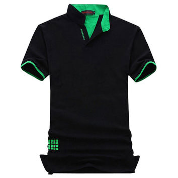 New Fashion Brand Men Polo Shirt Solid V-Neck Short-Sleeve Slim Fit Shirt Men Cotton Polo Shirts Casual Shirts Plus Size 6XL 7XL