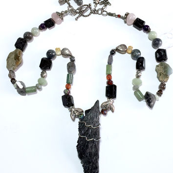 "28"" Kyanite Blade Healer's Powerful Necklace, with clasp, Sterling Silver Bees, Dragonflies"