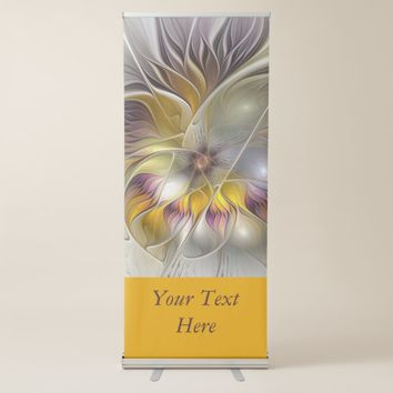 Abstract Colorful Fantasy Flower Modern Text Retractable Banner