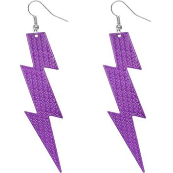 Purple Thunder Lightning Bolt Earrings