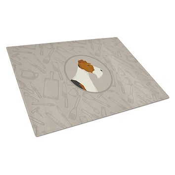 Fox Terrier In the Kitchen Glass Cutting Board Large CK2185LCB