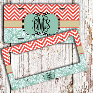 damask license plate or frame monogrammed gift turquoise damask coral chevron monogram chevron