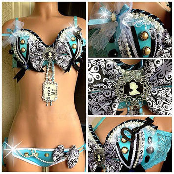 Alice in Wonderland Rave Bra and Bottom, Costume 4 EDC, Electric Daisy Carnival, Ultra, EDM FestivalsTomorrowland