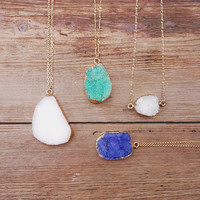 Druzy pendants for women - Trending druzy jewelry - Gold plated edge druzy necklace - Gold dipped druzy pendant - Druzy jewelry for women