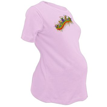 Grateful Dead - Rainbow Hoopers Pink Maternity T-Shirt