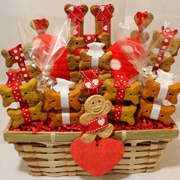 Custom dog biscuit treat basket with squeak toy, unique gift, birthday, personalized, paw print, red, black and white, holiday, Christmas