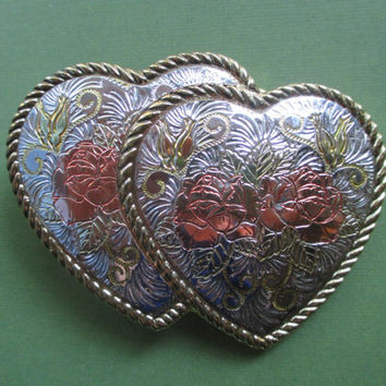 Buckle, Double Hearts, Vintage, Engraved, Silver toned, Gold-tone, Rose Colored, Sweetheart Buckle