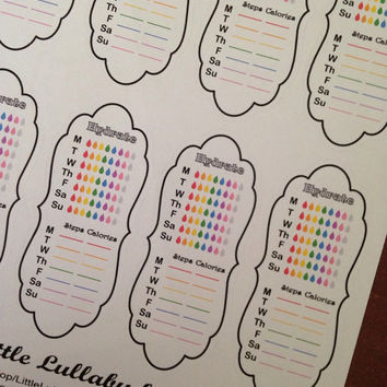 8 Weekly Side Bar Healthy Tracker Stickers  Great planner or scrapbook accessories!