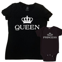 Mommy and Daughter Matching Shirts Mother Daughter Shirts Mommy And Me Clothing Mom And Baby Gift Queen And Princess Bodysuit - SA629-630