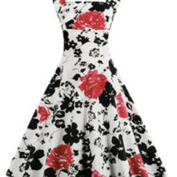 Vintage 1950's Floral Spring Garden Party Picnic Party Cocktail Dress Red Fllower