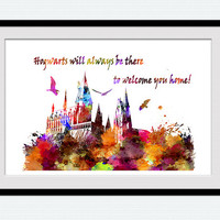 Hogwarts poster Harry Potter watercolor print Hogwarts colorful print Harry Potter poster Home decoration Kids room decor Wall poster W372