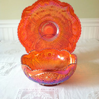 Mid Century Carnival Deep Orange Bowl with Stand/Iridescent Shimmer/Christmas Serving Table - Ca. 1950's