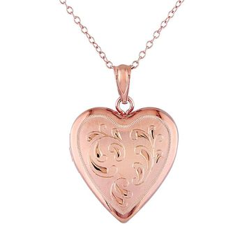 Pink Rhodium-Plated Sterling Silver Filigree Heart Locket Necklace
