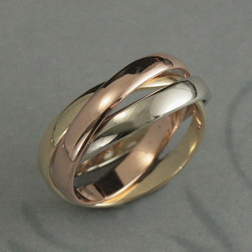 Solid 14K Wide TriColor Rolling Ring--Russian Wedding Band--Interlocking Bands--Trinity Ring--3mm Wide Bands--Made to Size and Finish