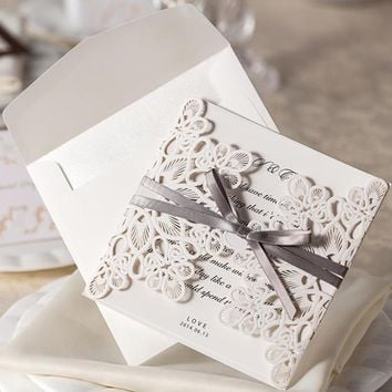 New Arrive!10pcs/Set Lace And Ribbon Invitations Luxurious Wedding Invitation Card With Wedding Invitation Envelope