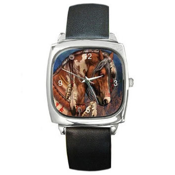 Indian Horse/ Pony on a Square Silver Watch with Leather Bands...New