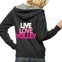 Adult Unisex Live Love Volley Full Zip Hooded Sweatshirt