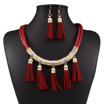 Statement Necklaces Fashion African Jewelry Sets For Weddings Leather Tassel Necklace and Earring Set N3701