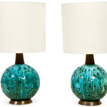 One Kings Lane - Jamie Bush - Midcentury Volcanic Lamps, Pair