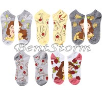 Licensed cool Disney Beauty And The Beast Belle & Roses No-Show Socks 5 Pack Pair Ankles NEW