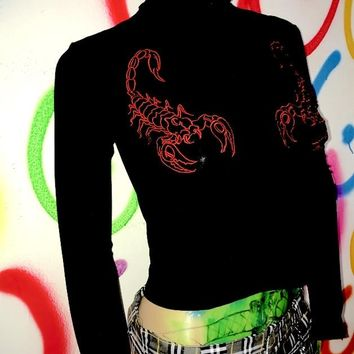 Omighty SCORPION TURTLENECK in black embriodery red block Slim Long Sleeve T Shirt  Harajuku Tshirt
