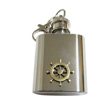 Brass Toned Nautical Ship Steering Helm 1 Oz. Stainless Steel Key Chain Flask