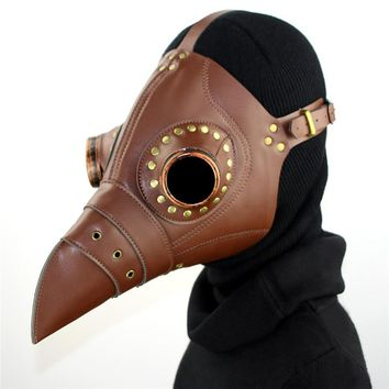 Cospaly Dr. Beulenpest Steampunk Plague Doctor Mask Brown PU Leather Birds Beak Masks Halloween Art Cosplay Carnaval Props