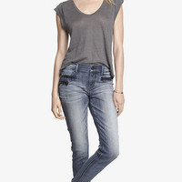 MID RISE ZIPPERED ANKLE JEAN LEGGING from EXPRESS