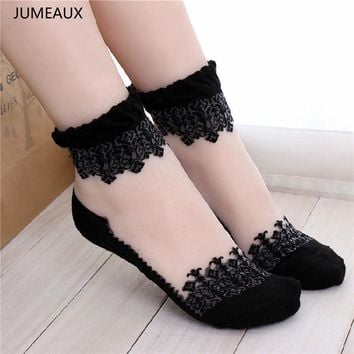 JUMEAUX Fashion Mesh Women Socks Newest Lace Socks Women Cotton Lace Socks for Women Accessories 2017