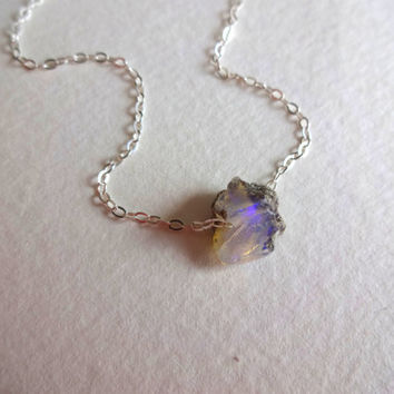 Rough Blue Opal Micro Pendant and 925 Sterling Silver Chain Necklace