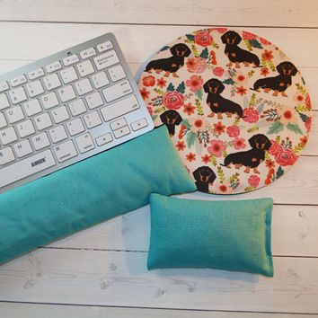 Dachshund Keyboard rest and or WRIST REST MousePad set doxie mouse pad- coworker gift - office Desk Accessories - doxie