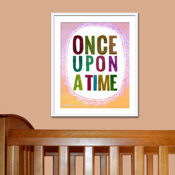 8x10 Whimsical Art Print, Girl's Wall Art, Baby Gift, Kids Decor, Once Upon a Time Illustration, Nursery Dreaming Theme, Fairy Tale Picture