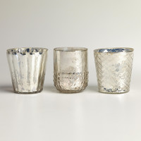 Silver Mercury Glass Votive Candleholders, Set of 3 - World Market