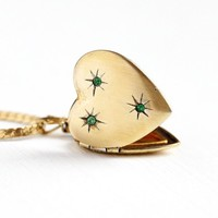 Vintage Heart Locket - 12k Yellow Gold Fill Over Sterling Silver Green Rhinestone Necklace - Retro Star Design 1940s Sweetheart 40s Jewelry