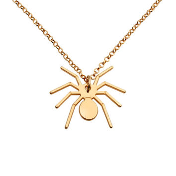 18K Yellow Gold Plated  Sterling Silver Spider Necklace