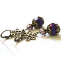 Celtic Knot and Plum Violet Earrings