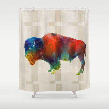 Buffalo Animal Print - Wild Bill - By Sharon Cummings Shower Curtain by Sharon Cummings